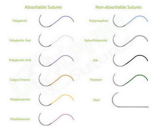 A comparison between absorbable,dissolvable stitches and non-absorbable stitches.image